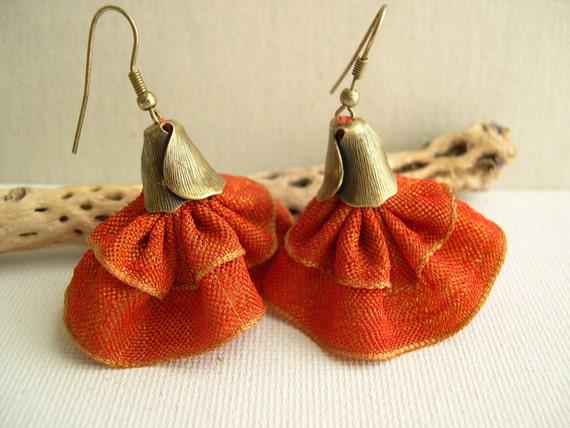Orange Tango earrings - Orange bell earrings - Spanish dancer Earrings - Bridesmaid Earrings - Wedding Earrings - Flamenco Earrings