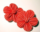 Striped Red Fabric Hair Flowers -PAIR-