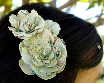 cream and turquoise flower hair clip for bridal, women, and girls: eleanor