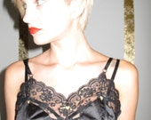 VINTAGE black camisole with gold gun stud