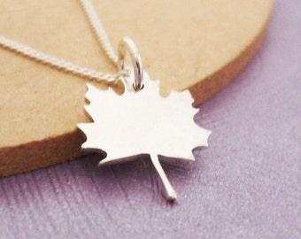Tiny Sterling Maple Leaf Handmade Pendant