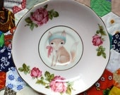 Baby Fox Framed with Floral Vintage Illustrated Plate