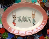 Love Bunnies Oval Shaped Vintage Illustrated Plate