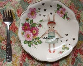 Lets Run Away Bow Haired Bunny Vintage Illustrated Plate