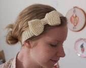 Coloured Hand Knitted Wool Bow Headband