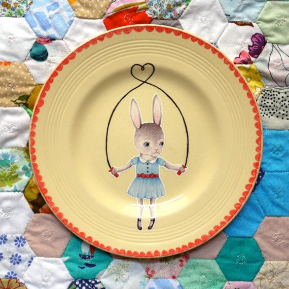 Skipping Bunny Sweetheart Vintage Illustrated Plate