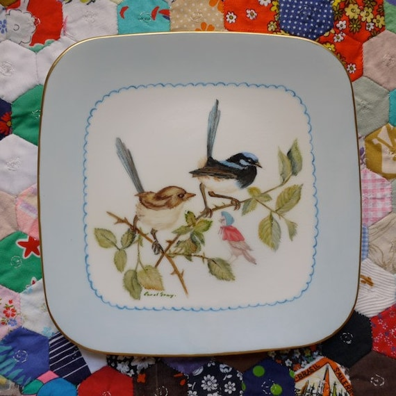 RESERVED Handpainted Wrens with Caped Birdy Vintage Illustrated Plate