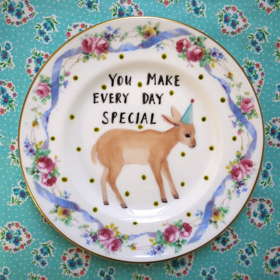 You Make Every Day Special Baby Deer Vintage Illustrated Plate