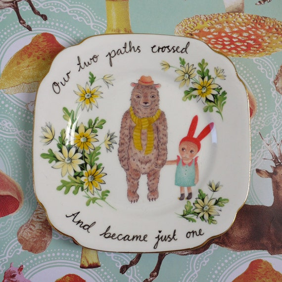 Our Two Paths Crossed and Became Just One Bunny and Bear Vintage Illustrated Plate
