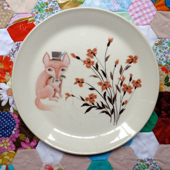 Mr Fox in the Autumn Fields Vintage Illustrated Plate