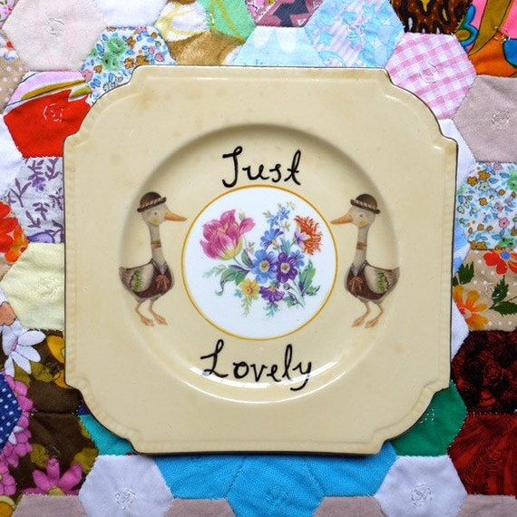 Just Lovely Double Ducks and Floral Centrepiece Vintage Illustrated Plate