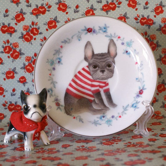 Little Frenchie With Blue and Red Floral Vintage Illustrated Plate