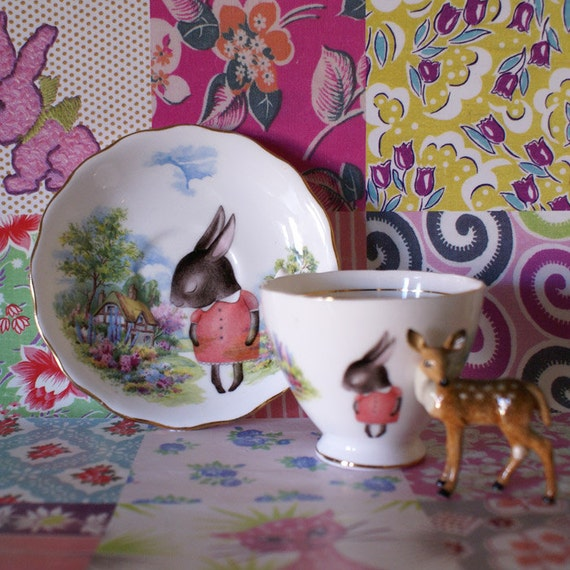 Illustrated Vintage Cup and Saucer Set Scenic Country Cottage with Shy Bunnies