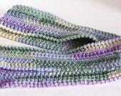Crochet Skinny Scarf in Monet - READY TO SHIP