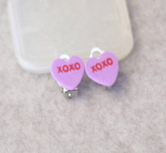 Conversation Hearts - Purple XOXO Foam Heart Clip On Silver