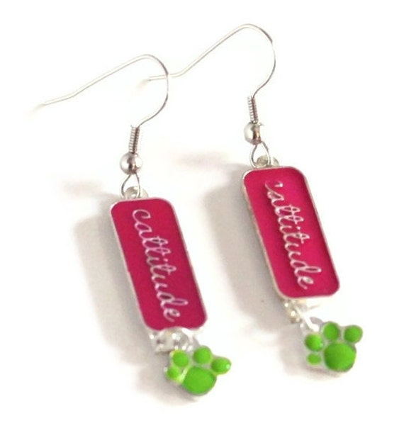 Reserve listing 2 pairs Cattitude - Pink and Green Cat Lover Earrings
