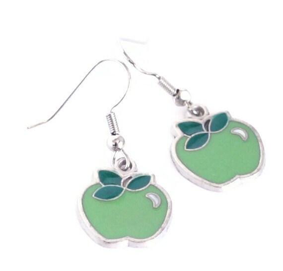 Green Apple Teacher's Pet Enamel Charm Earrings
