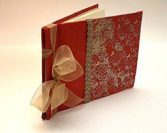 Romantic Elegant Red Guest Book with Gold ornaments