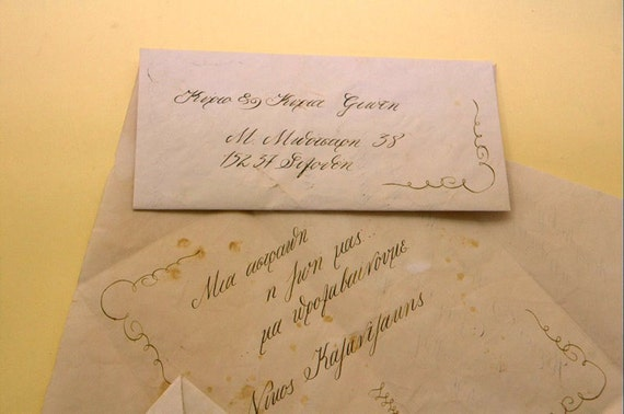 Special for Laura -Wedding  Invitations Vintage Handmade Calligraphy with Wax-  Made to order