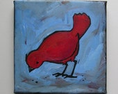Little Red Bird finds some Seeds - Acrylic on Canvas
