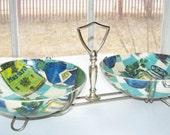 Vintage mid century pressed fiberglass condiment bowl set, kitchen ware, aqua, emerald green, turquoise on Etsy - Treasury Featured x2