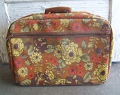 Retro 1970s floral fabric luggage, carry-on, hand bag, hippy style flower power on Etsy