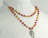Gryffindor - Red and Gold Glass Bead and Crystal Griffin Charm Necklace Bracelet