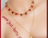 I Love the Boy Who Lived - Vintage Brass & Red Teardrop Necklace