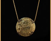 Norbert - Vintage Brass Chain with Dragon Shield Brass Stamping Necklace