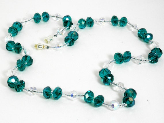Peacock Blue and Iridescent Clear Glass Bead Necklace