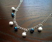 The Glitz- Sparkle and Shine, Blue and Silver Charm Bracelet