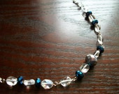 The Friday Night- Faceted Clear, Blue, and Silver Sparkle Necklace