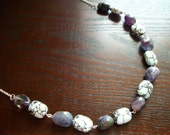 The Only Girl in the Room- Purple, Green, and Blue, Amazonite and Jade Silver Necklace