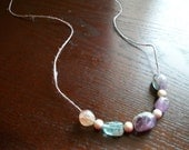 The Long Lavender- Long Hemp Purple Rope with Agate Stone and Sparkle Beads