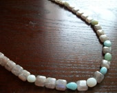 The Something Extra- Purple Labradorite and Light Blue Amazonite Long Stone Necklace