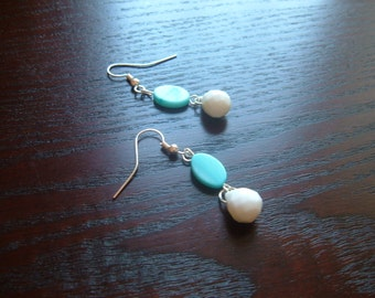 The Birdie- Faceted Preppy White Teardrop Stones with a Light Blue Shell Earrings