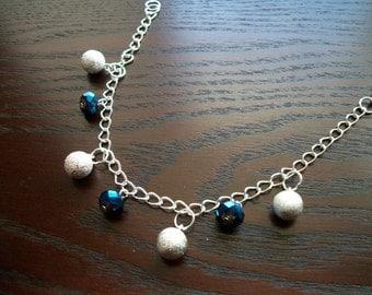The Glitz- Sparkle and Shine, Blue and Silver Charm Bracelet
