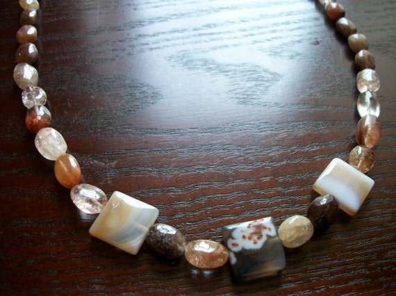 The Coco- Agate Square and Pebble Mocha Brown Necklace