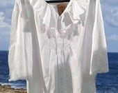 1X Peruvian Cotton RUFFLE Tunic Indigo White 1X plus