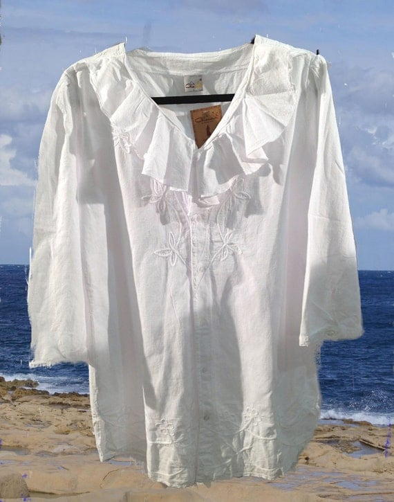 Large Peruvian Cotton RUFFLE Tunic White