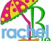 Beach Umbrella Monogram Machine Embroidery Font Design Set // Joyful Stitches