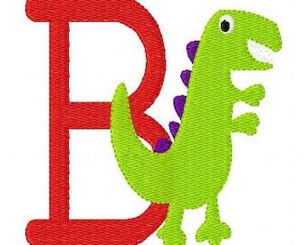 Dinosaur Dino Fun Monogram Embroidery Font Design Set, Machine Embroidery Designs, Embroidery Font, Monogram Designs // Joyful Stitches