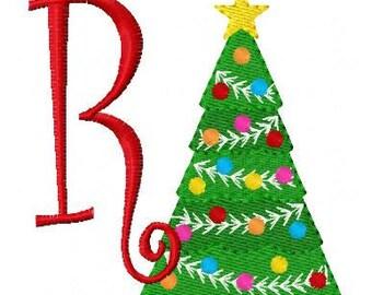 Christmas Tree Machine Embroidery Monogram Design Set // Joyful Stitches