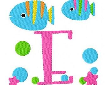 Tropical Fish Monogram Machine Embroidery Design Set // Joyful Stitches
