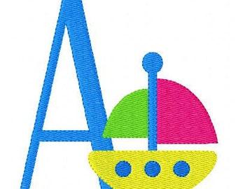 Sailboat, Summer, Machine Embroidery Monogram Font Design Set, Embroidery font, Embroidery Monogram Font // Joyful Stitches