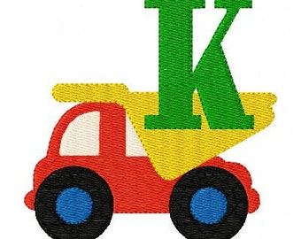 Dump Truck Delivery Machine Embroidery Monogram Font Design Set // Joyful Stitches