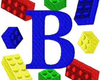 Interlocking Blocks Machine Embroidery Monogram Design Set, Machine Embroidery Designs, Embroidery Font // Joyful Stitches
