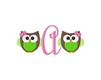 Girl Owl // Mini Monogram // Machine Embroidery Design, Owl Embroidery Design, Embroidery Font // Joyful Stitches