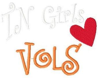 Tennessee Girls Love Vols Machine Embroidery Design 5 by 7 // Joyful Stitches