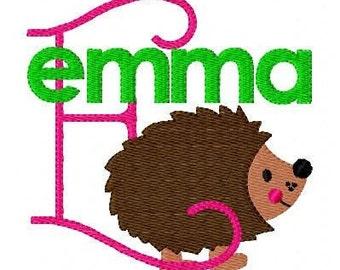 Hedgehog Machine Embroidery Monogram Font Design Set, Machine Embroidery Designs, Embroidery Font // Joyful Stitches
